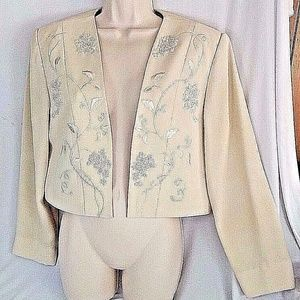 Papell Boutique Blazer Beaded Sequins Lined